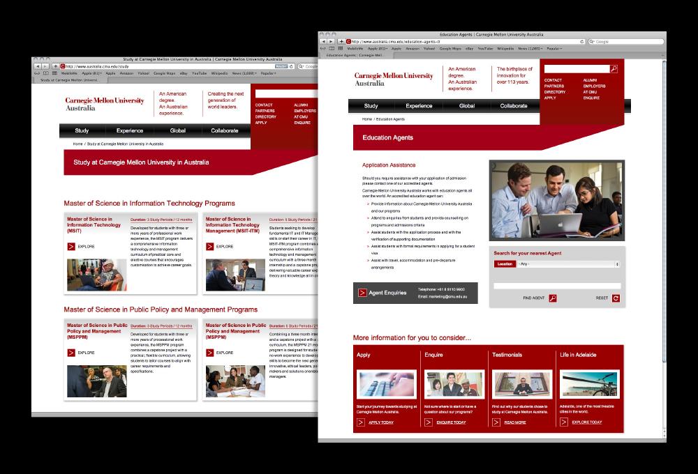 Carnegie Mellon University Australia Website – Freelance Graphic Designer Adelaide