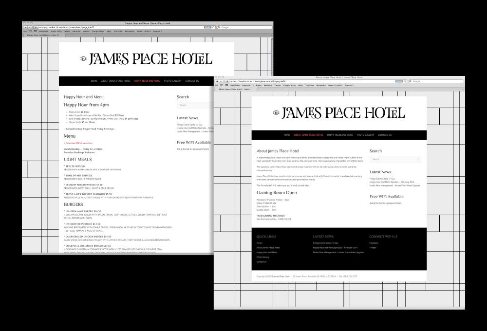 James Place Hotel Website – Freelance Graphic Designer Adelaide
