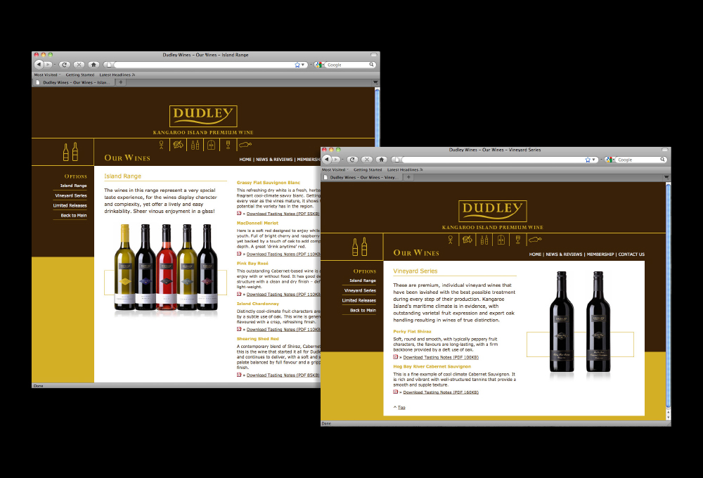 Dudley Wines Website – Freelance Graphic Designer Adelaide